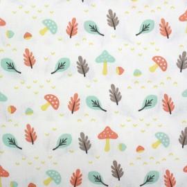 Cotton fabric Heryco - mint/orange x 10cm