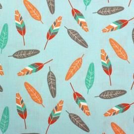 Cotton fabric Miwi - light blue/red x 10cm