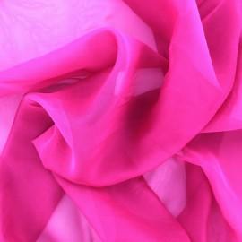 Tissu mousseline touché soie - fuchsia x 50cm