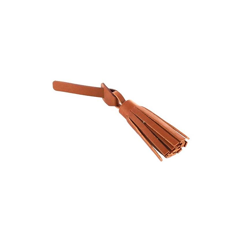 pompon simili cuir franges avec attache marron ma petite mercerie. Black Bedroom Furniture Sets. Home Design Ideas
