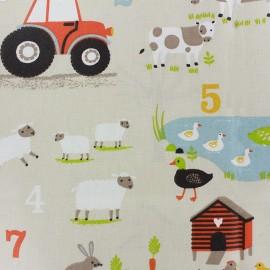 Coated cotton fabric Ferme - sand x 32cm