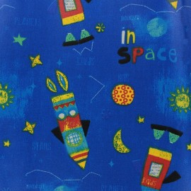 Coated cotton fabric Space - blue x 32cm