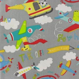 Coated cotton fabric Looping - grey x 32cm