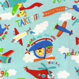 Coated cotton fabric Looping - light blue x 32cm