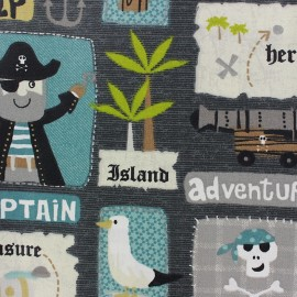 Coated cotton fabric Adventure - grey x 22cm