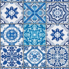 Coated cotton fabric Lisbonne carreaux - indigo x 31cm
