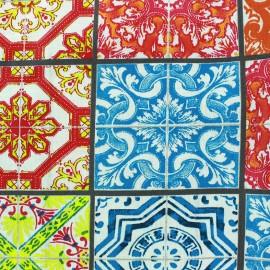 Coated cotton fabric Lisbonne carreaux - multi x 31cm