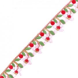 Guipure Ajourée India Fleurs du Gange - rose x 50cm