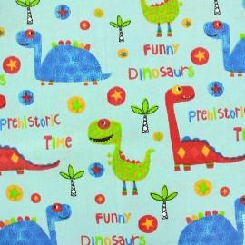 Coated cotton fabric Dino Diplo - blue x 32cm