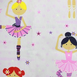 Coated cotton fabric Ballet - pink x 41cm