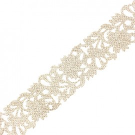 Openwork guipure lace ribbon India Mumbai ornement x 50cm - silver