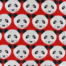 Tissu jogging Poppy Pretty Panda - rouge x 10cm
