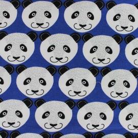 Tissu jogging Poppy Pretty Panda - bleu roy x 10cm