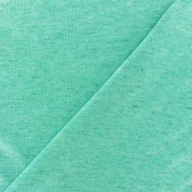 Tissu Maille légère lin pailleté - vert clair x 10cm