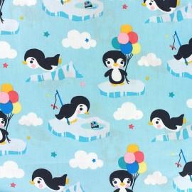 Cotton Fabric Little Penguin - light blue x 12cm