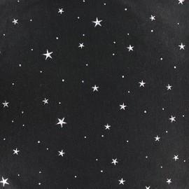 Flocked jersey fabric Stars - black x 10cm