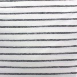 Light striped viscose jogging Fabric - light grey/white x 10cm