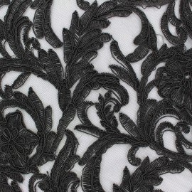 Embroidered lace Fabric Adèle - black x 10cm