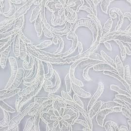 Embroidered lace Fabric Adèle - ecru x 10cm