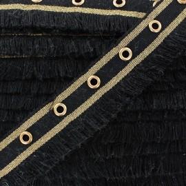 Fringe braid ribbon Oeillets - black x 1m