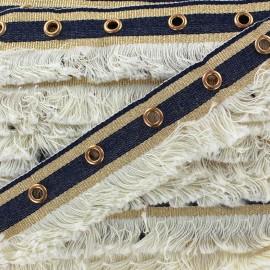 Fringe braid ribbon Oeillets - ecru x 1m