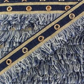 Fringe braid ribbon Oeillets - denim x 1m