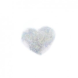 Embroidered iron on patch  sequins heart - silver
