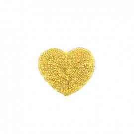 Embroidered iron on patch  sequins heart - gold