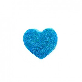Embroidered iron on patch  sequins heart - turquoise