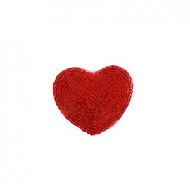 Embroidered iron on patch  sequins heart - red