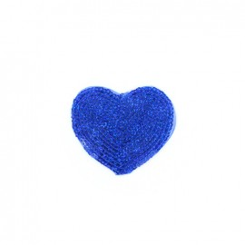 Embroidered iron on patch  sequins heart - blue