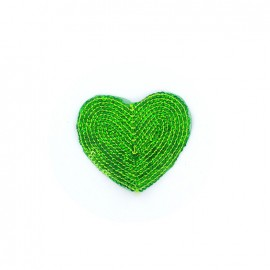Embroidered iron on patch  sequins heart - green
