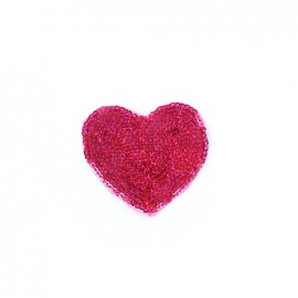 Embroidered iron on patch  sequins heart - fuchsia