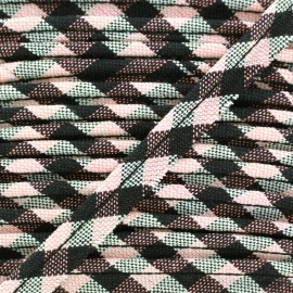 Checked Piping Scottish - pink x 1m