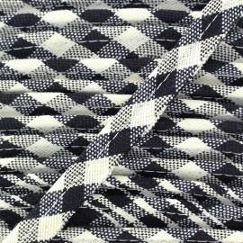 Checked Piping Scottish - white x 1m