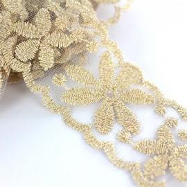 Embroidered lurex ribbon Fleurs 45 mm - gold x 50cm