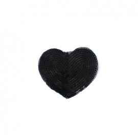 Embroidered iron on patch  sequins heart - black