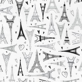 Tissu Paris Adventure Tour Eiffel - blanc x 60cm