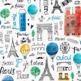 Tissu Paris Adventure Bonjour - multi x 60cm
