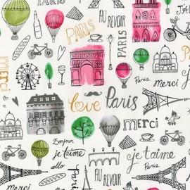 Tissu Paris Adventure Bonjour - garden x 60cm