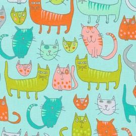 Doodle Pop fabric Chats - aqua x 30cm
