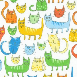 Doodle Pop fabric Chats - primary x 30cm