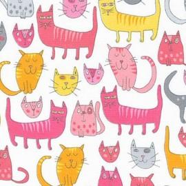 Tissu Doodle Pop Chats - pink x 30cm