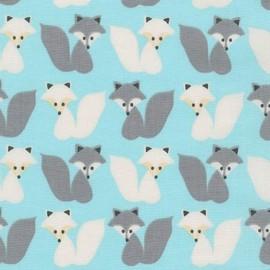 Woodland Pals 2 fabric Fox - aqua x 10cm