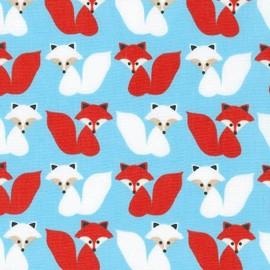 Woodland Pals 2 fabric Fox - blue x 10cm