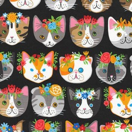 Tissu Whiskers et tails Cats - noir x 44cm