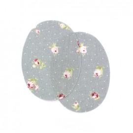 Coudières fleurs pivoines - gris (la paire)