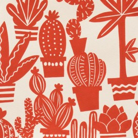 Tissu coton Agave - tea/red x 31 cm