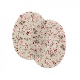 Coudières fleurs framboisiers - beige (la paire)