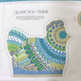 Tissu coton Chicken in the kitchen pannel - blue x 60cm